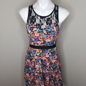 Material Girl Floral lace skater dress sz XS